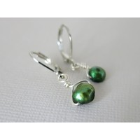 Emerald Freshwater Pearl Earrings - Argentium Wire Wrapped
