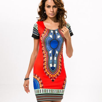 Summer Dashiki Dress for Women 2017 - Casual Mini African Print Sundress Ladies African Plus Size Clothing Indian Dresses