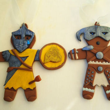 Skyrim inspired Christmas ornament pair- Dovahkiin and City Guard gingerbread