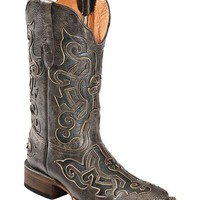 Tanner Mark Crackle Cross Inlay Cowboy Boots - Square Toe - Sheplers