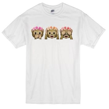 Floral Speak See Hear No Evil Monkeys Custom Men's Gildan Adult T-Shirt