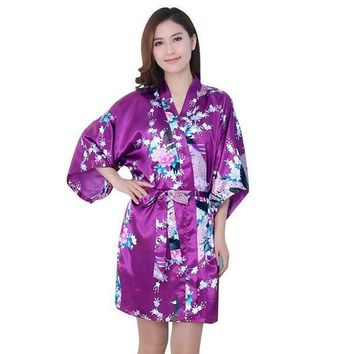 CREYCI7 Essential Women Fall Autum Silk Satin Long Wedding Bride Bridesmaid Robe Peacock Bathrobe Floral Kimono Robe Size M~XXL