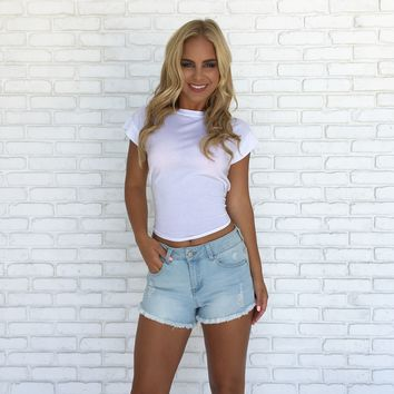Tied Back Cotton Tee In White