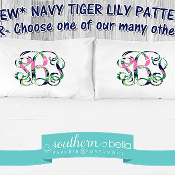 Monogrammed * Lilly-Inspired * A PAIR of Pillow Cases * New Pattern! * Not Vinyl! * Soft, Dyed-In Design * Tiger Lily NAVY