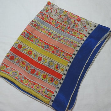 1960s Vintage Long Silk Scarf in Bright Colors, Stripes, Floral, Blue Border, 45 x 19 In., Hand Roll, Vintage Scarf, 1960s Fashion Accessory