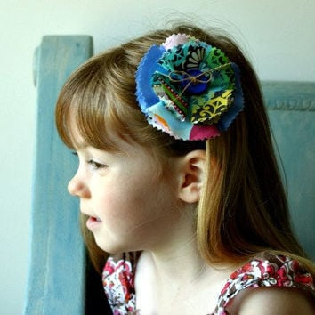 Shabby Chic Fabric Flower Hair Accessory for Girls in Blue