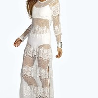Anja All Over Lace Scoop Back Sheer Maxi