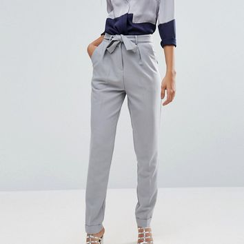 ASOS TALL Woven Peg Pants With Obi Tie at asos.com