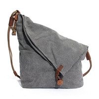 Women Vintage Messenger Bag Genuine Leather Canvas Crossbody Bag