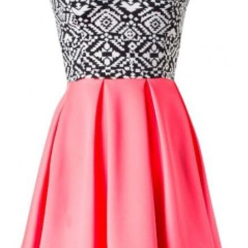 The Strapless Tribal Skater Dress