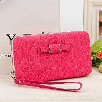 New style women's Bow zipper pencil case wallet Ms. Lunch box style purse Mobile Phone Bags Free Shipping 1318