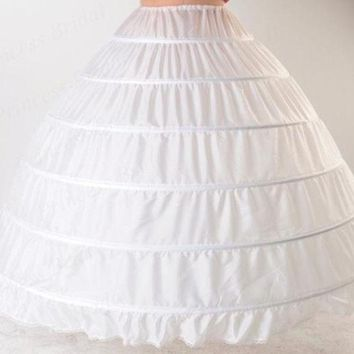 ONETOW Luxurious Western Style Puffy Elastic Waist Plus size Ball Gown Wedding Petticoat 6 Hoops For Bride Dress PT017 = 1930099332