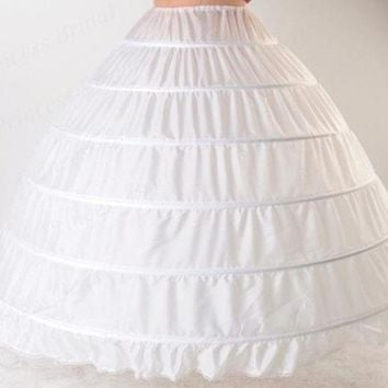 ONETOW Luxurious Western Style Puffy Elastic Waist Plus size Ball Gown Wedding Petticoat 6 Hoops For Bride Dress PT017