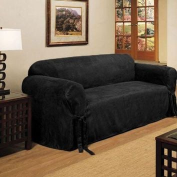 2 Pieces Micro Suede Slipcover, Furniture Protector Cover, Sofa & Loveseat Set