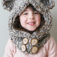 Knitting PATTERN - Chunky Bear Hood in Toddler, Child and Adult Sizes (hat007)