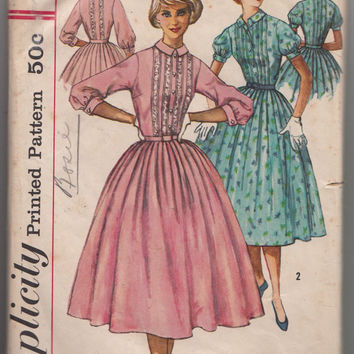 1950s Rockabilly Bouffant Dress Size 14 Bust 34 Simplicity 2126 Tucked Front Bodice Lace Trim Full Gathered Skirt Vintage Sewing Pattern