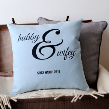 'Hubby And Wifey' Cushion Cover