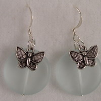 SEAE02 Sterling Silver Sea Glass Earrings with Tibetan Silver Butterfly