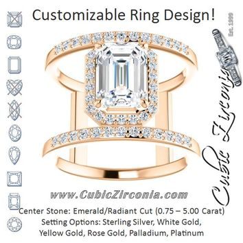Cubic Zirconia Engagement Ring- The Jersey (Customizable Emerald Cut Halo Design with Open, Ultrawide Harness Double-Pavé Band)