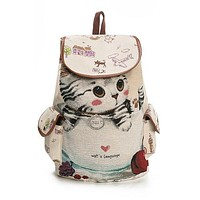 Casual Canvas School Backpack Women Lovely Cat Printed Drawstring Backpack Bag