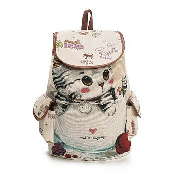 Lovely Cat Printed Large Capacity Drawstring Backpack - Casual Canvas School Backpack for Women and Teenagers