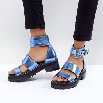 ASOS DESIGN Foxglove Premium Leather Gladiator Flat Sandals at asos.com