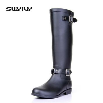 2017 Riding Style Buckle Rain Boots Woman High Red/Black Zipper Cool Equestrian Waterproof Rubber Shoes Add Warm Winter Liner
