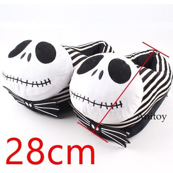 The Nightmare Before Christmas Jack Doll Jack Skellington Plush Slippers Shoes Home House Winter Stuffed Slippers Plush Toy 28cm