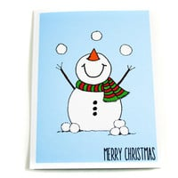 Happy Snowman Christmas Greeting Card Set of 12, with White or Blue Background.  Merry Christmas.  Blank Inside.