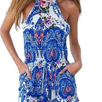 Lovesky Women Blueprint Halter Patterned Jumpsuit Playsuit Rompers Shorts
