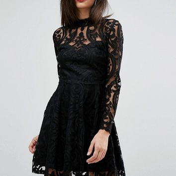 Lipsy Lace Burn Out High Neck Dress at asos.com