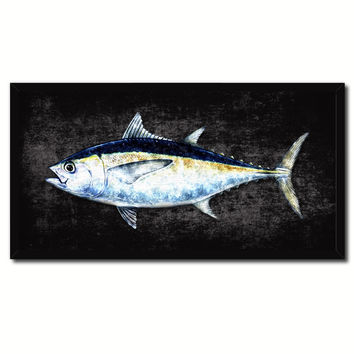 Blackfin Tuna Fish Black Canvas Print Picture Frame Gifts Home Decor Nautical Wall Art