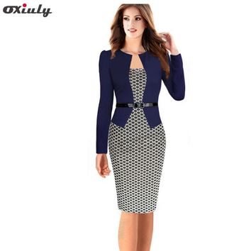 Oxiuly Women Plus Size Dresses 4XL Faux Two Piece Dress Elegant Plaid Long Sleeve Pencil Dresses Office Wear Women Work Outfits
