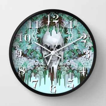 Seeing Color, melting floral skull in mint Wall Clock by Kristy Patterson Design