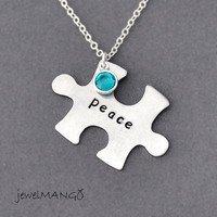 Personalized puzzle piece necklace, Hand stamped puzzle Pendant, jigsaw puzzle Pendant Necklace, birthstone necklace, autism awareness