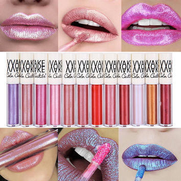 2017 Glitter Lip Gloss Waterproof Non-stick Diamond Shine Lips Makeup Shining Powder Matte Lipstick 12 Colors