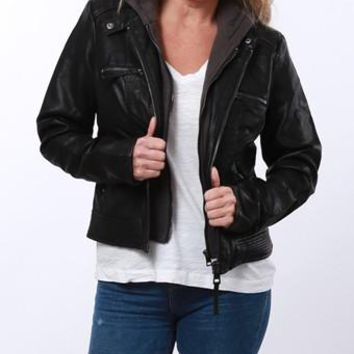 Faux Leather Hooded Moto Jacket
