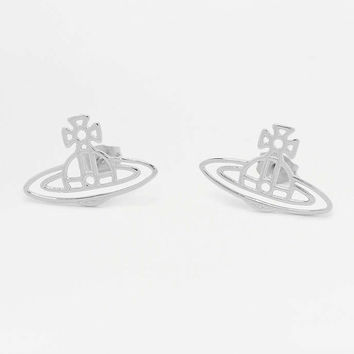 Vivienne Westwood Thin Lines Flat Orb Silver Stud Earrings - Urban Outfitters