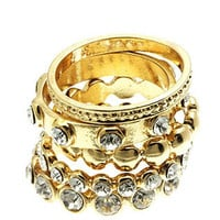 Gold Crown Jewels Ring Set (4 Pieces)
