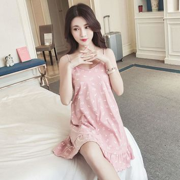 Female V neck cute sweet nightgown sleeveless spaghetti strap print cotton loose plus size women sleepshirt summer home lounge