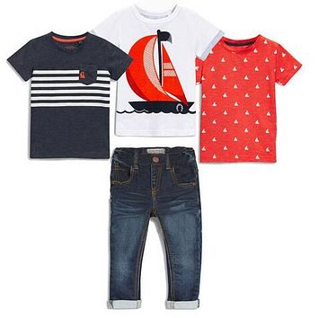 New boys clothing In the summer sets of sleeve clothing Short + jeans