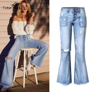 2017 Spring New Fashion Mid Waist Blue Wash Denim Pants Bottom Flared Jeans Hole Destroyed Palazzo Pant Women Trousers femme