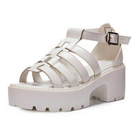 White Cross Strappy Platform Heeled Sandals - Choies.com
