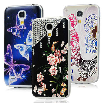 [Not for S4] Butterfly Flower Parrot Handmade Diamond Case For Samsung Galaxy S4 Mini i9190 Transparent Hard Back Cover Shell