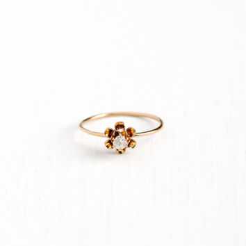 Antique 10k Rosy Yellow Gold 1/10 Carat Diamond Ring -  Vintage Edwardian Gem Size 7 1/2 Stick Pin Conversion Buttercup Flower Fine Jewelry