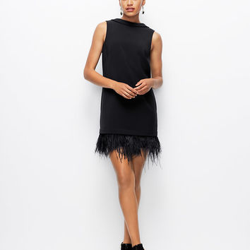 Feathered Hem Dress