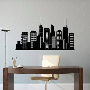 Chicago Skyline Wall Decal City Silhouette- Chicago Illinois Skyline Decal Office Business College Dorm Living Room Wall Art Home Decor C127