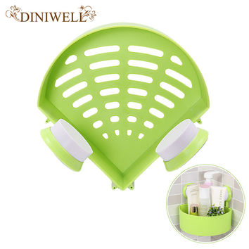 Triangle Shaped Plastic Suction Hollow Wall Hanging Corner Bathroom Storage Organization Shelves Toothbrush and Cup Holders