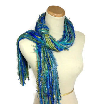 Blue Scarf, Fringe Scarf, String Scarf, Fashion Scarf, Spring Scarf, Turquoise Scarf, Green Scarf, Fiber Art, Multicolor, Mothers Day