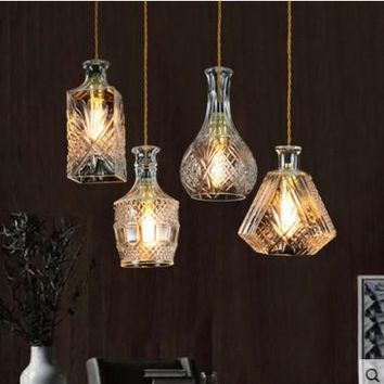 Nordic Creative Bottle LED Pendant Light Fixtures With Glass Lampshade Handing Lamp